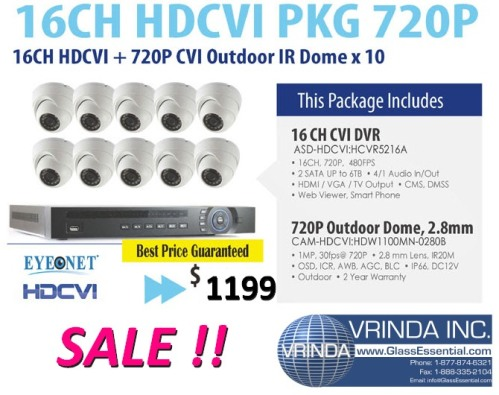 16 Ch HDCVI 700 P 10-Surveillance Camera  Package from GlassEssential.com