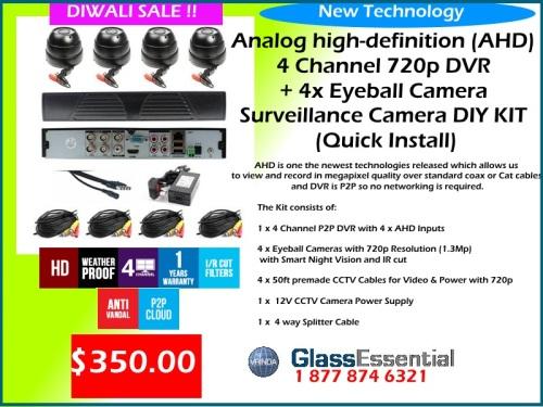 Analog high-definition (AHD) 4 Channel 720p + 4x Eyeball Camera Surveillance Camera DIY KIT (Quick Install)